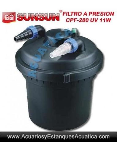 Sunsun cpf 280 filtro a presion con lampara uv c 11w para for Lampara uv estanque